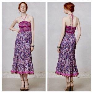 Maeve Anthropologie Daleka Silk Floral Maxi Dress